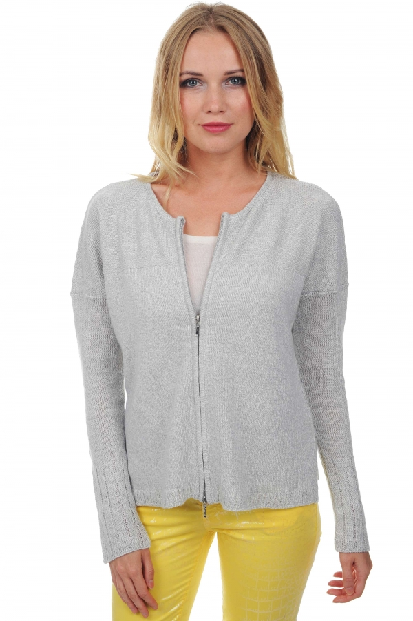 ladies cardigans brittany silver linen s4