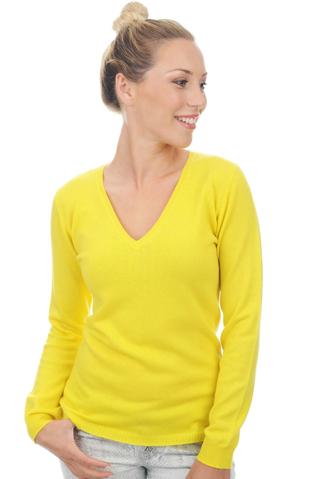ladies v necks acelia vivid yellow s