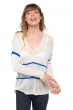 Cashmere & Silk ladies v necks bastogne ivory   lapis blue s1