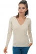 cashmere ladies v necks erine ecru chine l