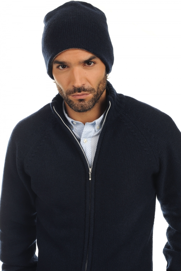 Cashmere accessories beanie aiden dress blue flanelle chine one size