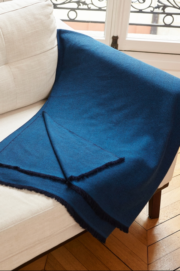 Cashmere accessories blanket erable blue 190 x 130 cm