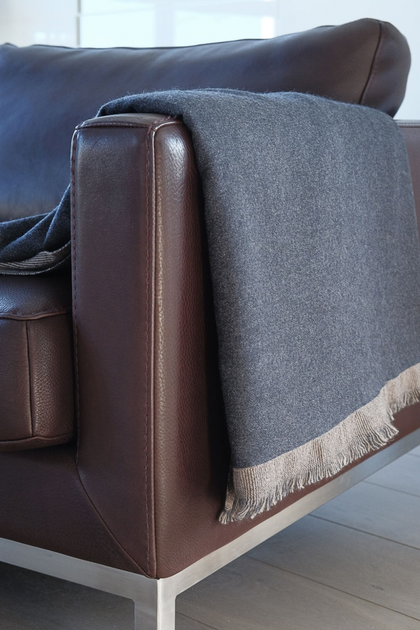 Cashmere accessories blanket fougere charcoal marl natural brown 190 x 130 cm
