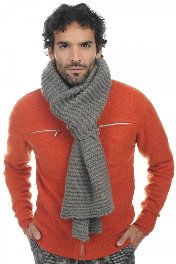 Cashmere accessories scarf mufflers manouche dove chine 190 x 26 cm