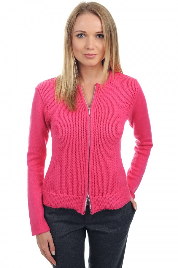 Cashmere ladies cardigans neola shocking pink xs