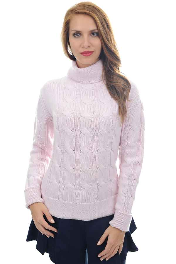 Cashmere ladies chunky sweater blanche shinking violet s