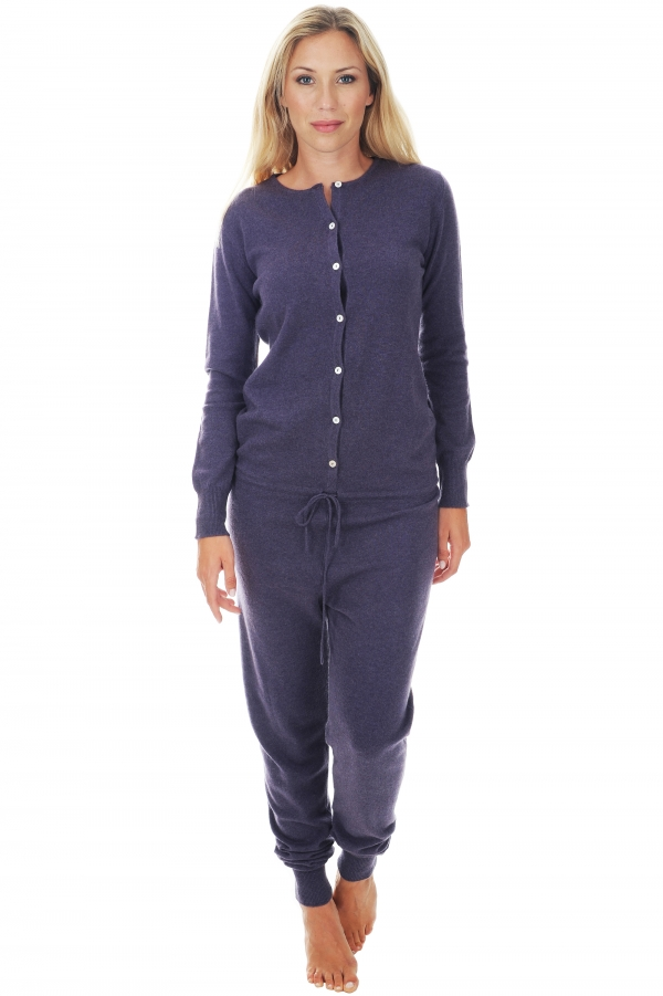 Cashmere ladies pyjamas plume purple violet s1