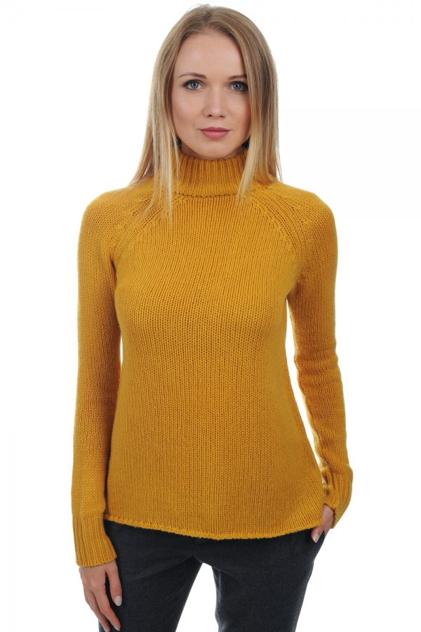 Cashmere ladies roll neck louisa mustard l