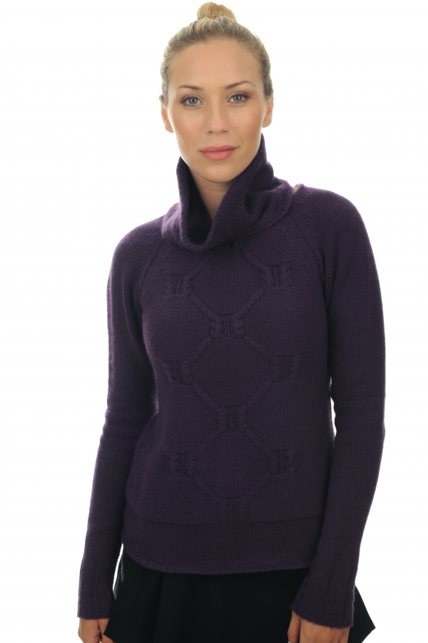 Cashmere ladies round necks april prune s