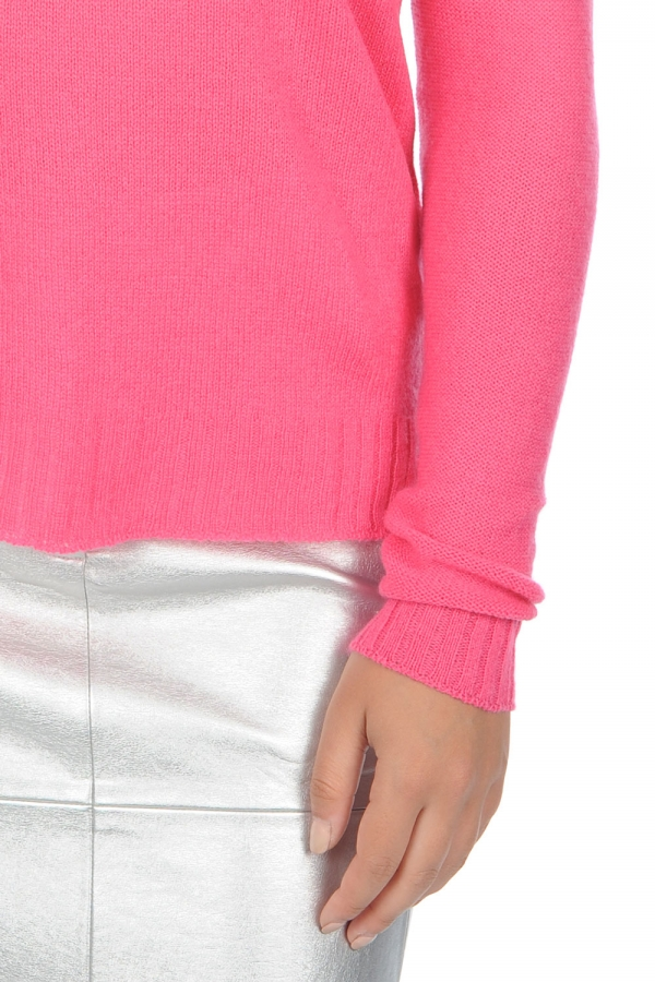 Cashmere ladies v necks jackeline shocking pink l