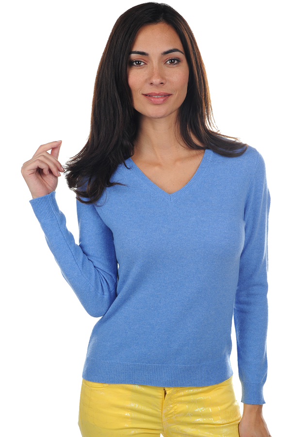 Cashmere ladies v necks mong fv blue chine s