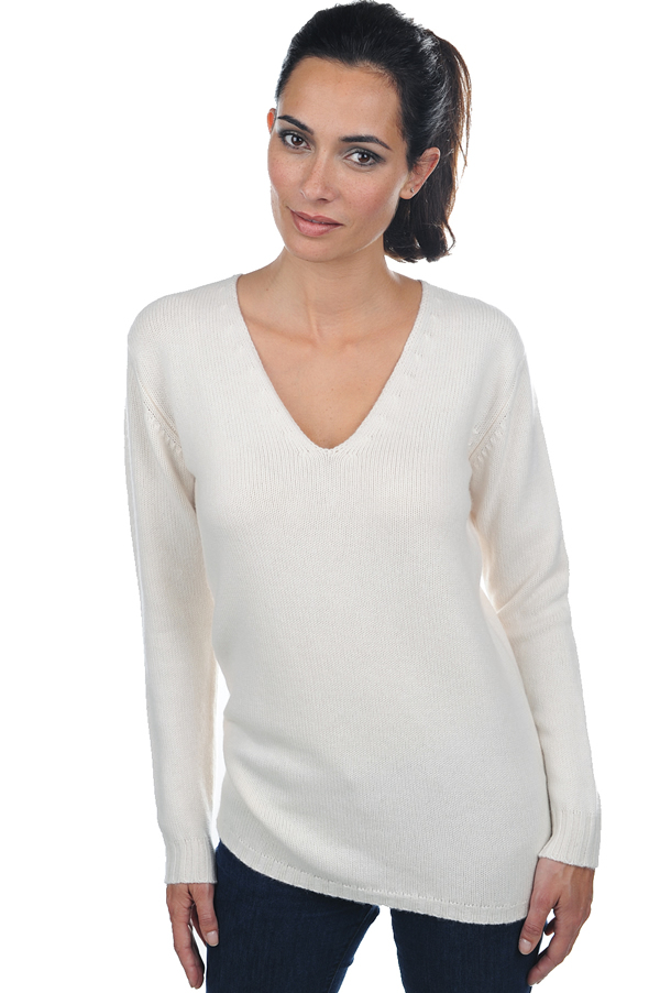 Cashmere ladies v necks vanessa ecru m