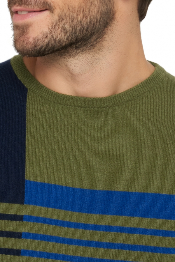 Cashmere men round necks kevan dress blue   kleny   ivy green xl