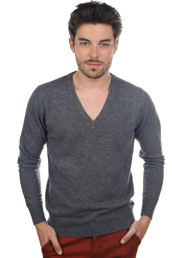 Cashmere men v necks mong hv charcoal marl m