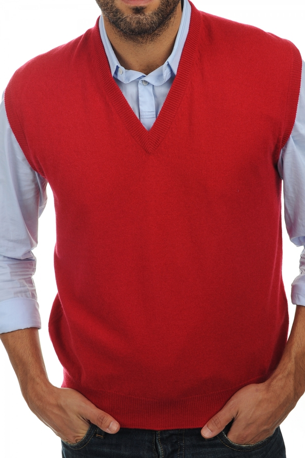 Cashmere men waistcoat sleeveless sweaters balthazar blood red m