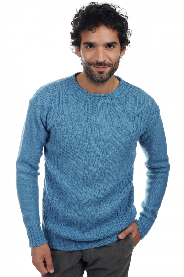 baby alpaca men round necks jayden baltic blue m
