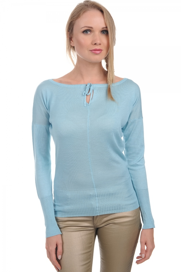 cashmere  silk ladies round necks nimah aqua xl
