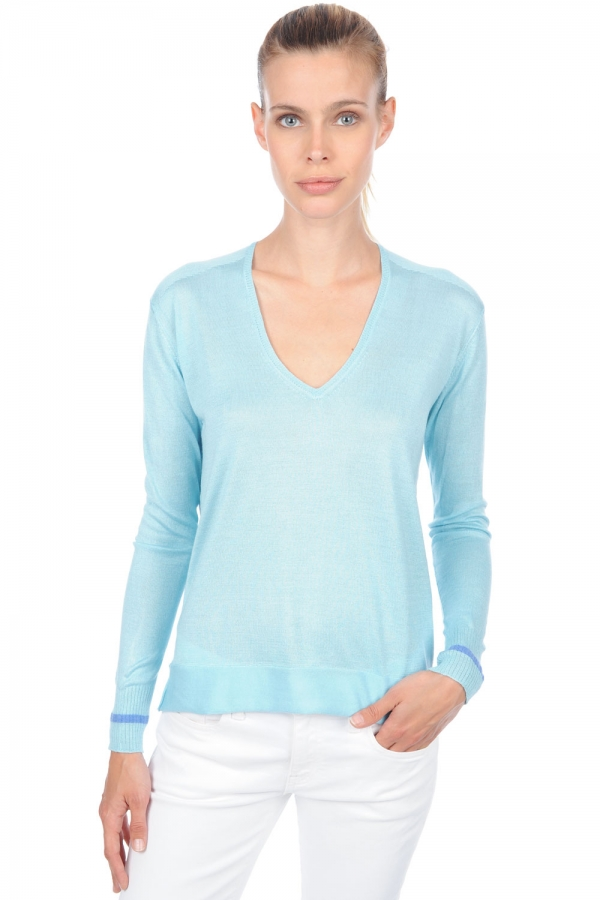 cashmere  silk ladies v necks arleen aqua blue chine s