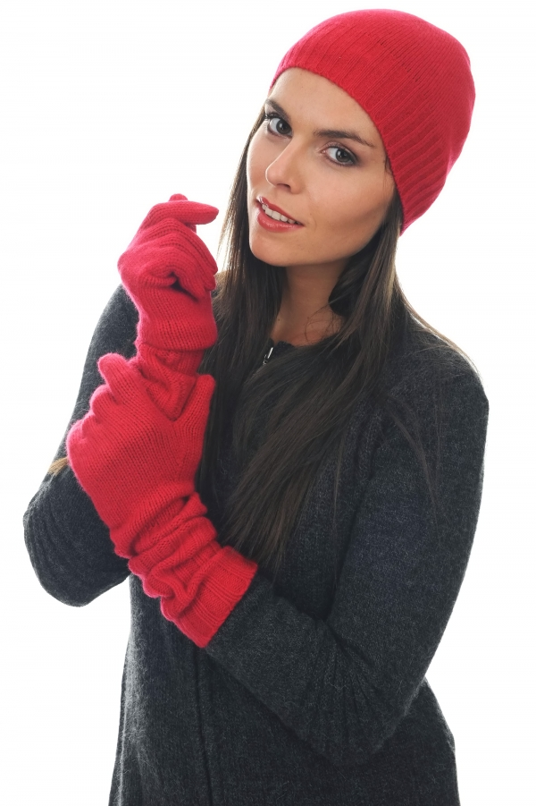 cashmere accessories gloves tadam blood red one size