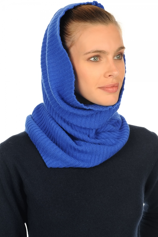cashmere accessories snood cerise lapis blue 60 x 28 cm