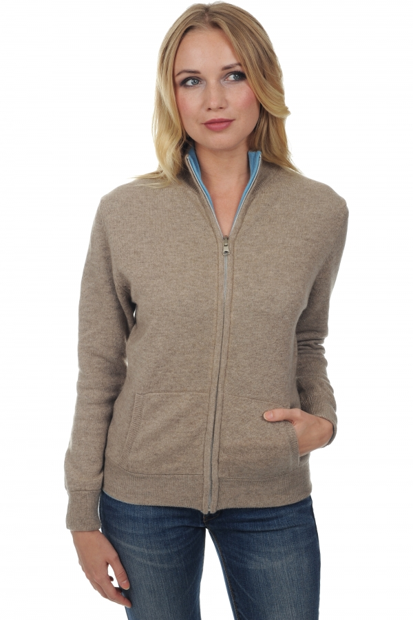 cashmere ladies cardigans akemi natural brown teal blue s