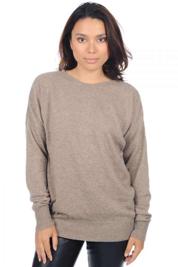 cashmere ladies round necks automn natural brown s1
