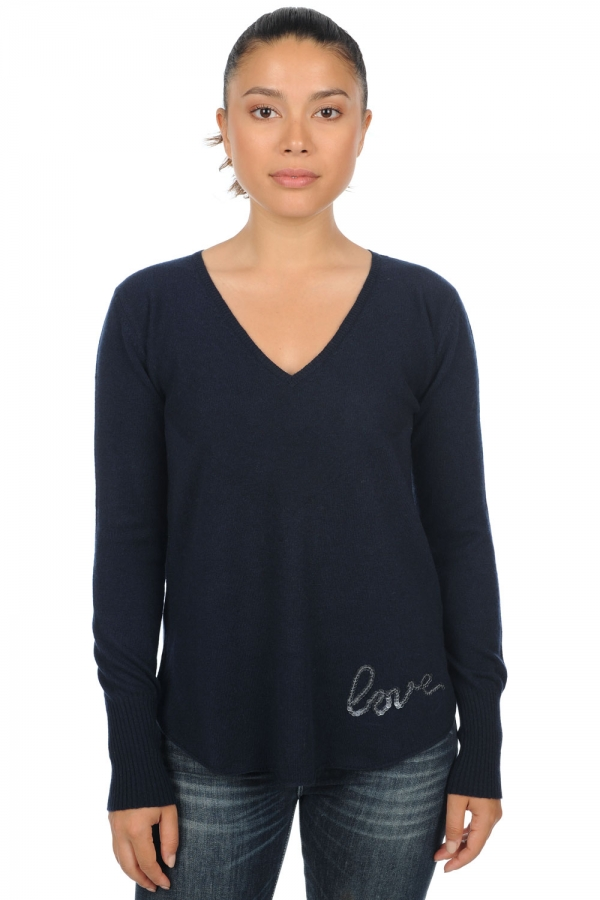 cashmere ladies v necks aenor dress blue xs