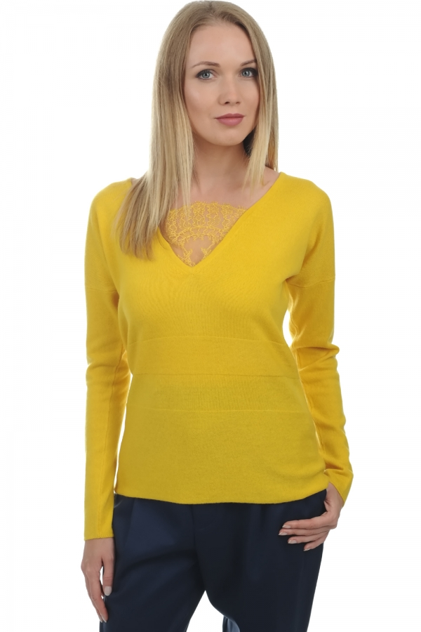 cashmere ladies v necks glenda cyber yellow l