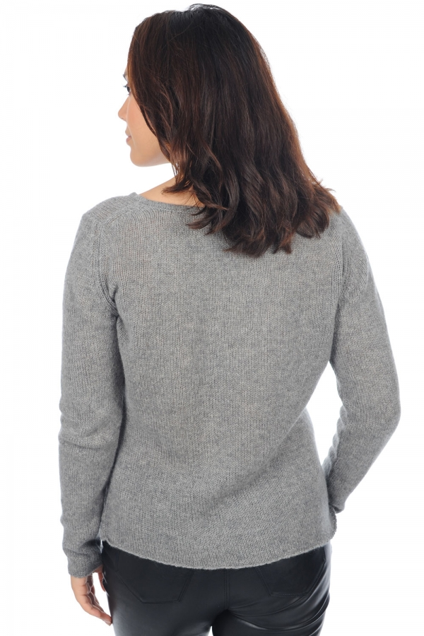 cashmere ladies v necks myrela grey marl l