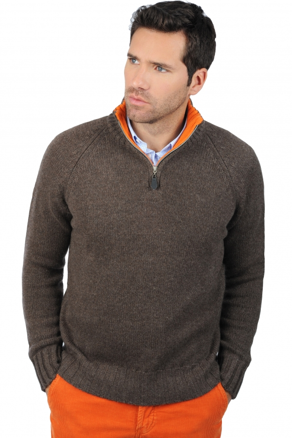 cashmere men polo style sweaters olivier marron chine orange m