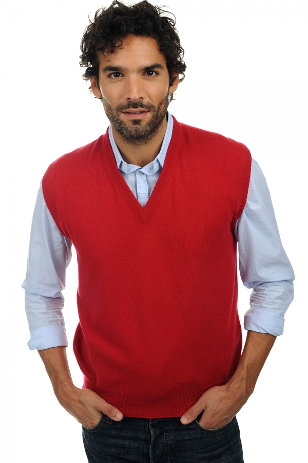 cashmere men waistcoat  sleeveless sweaters balthazar blood red l