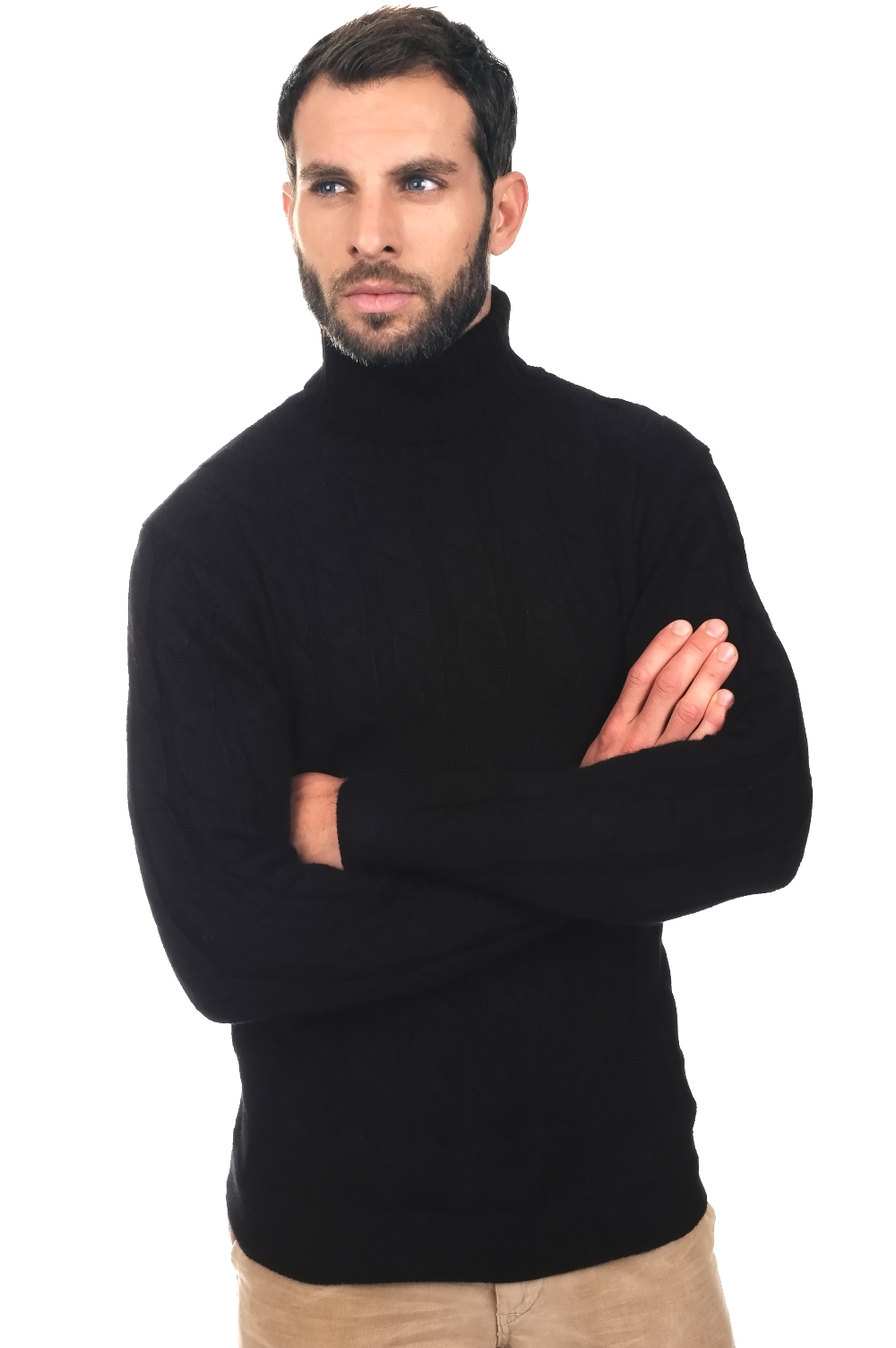 Baby Alpaca men roll neck harrison black l