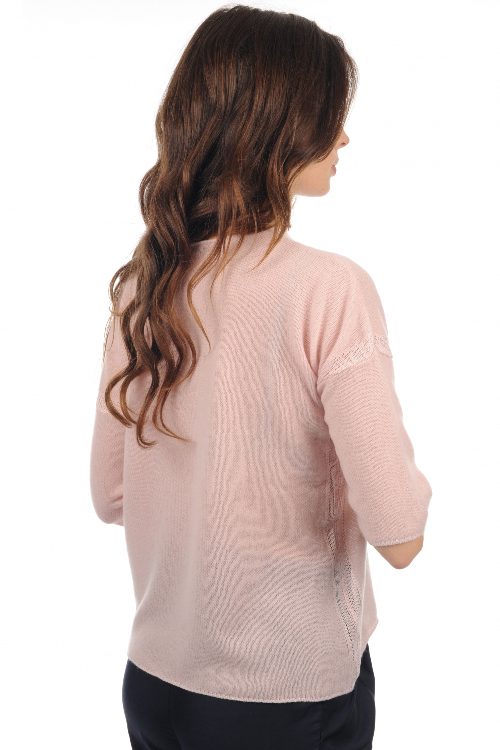 Cashmere & Silk ladies round necks denitsa shinking violet   blush s1