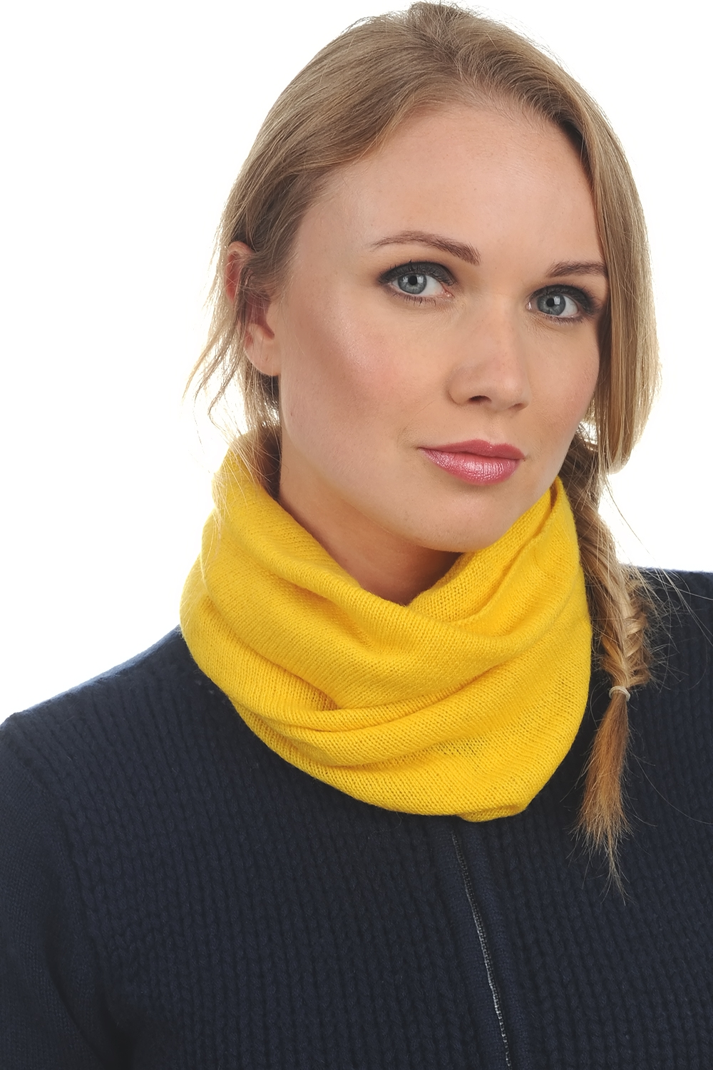 Cashmere accessories snood fraise cyber yellow 55x25cm