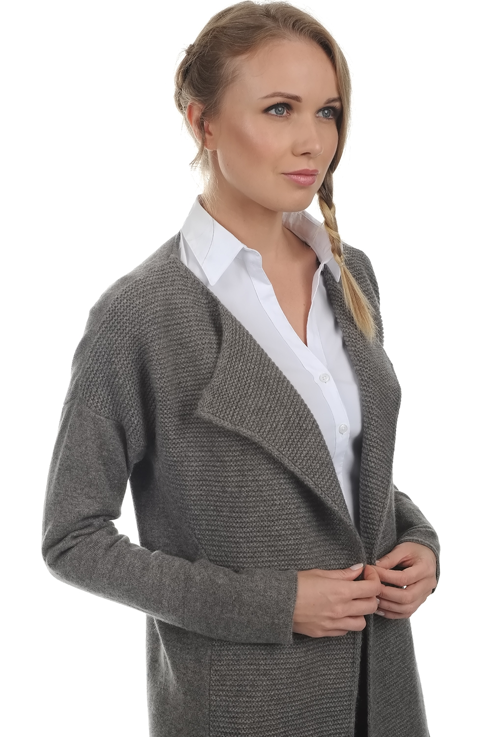 Cashmere ladies cardigans hillary dove chine s