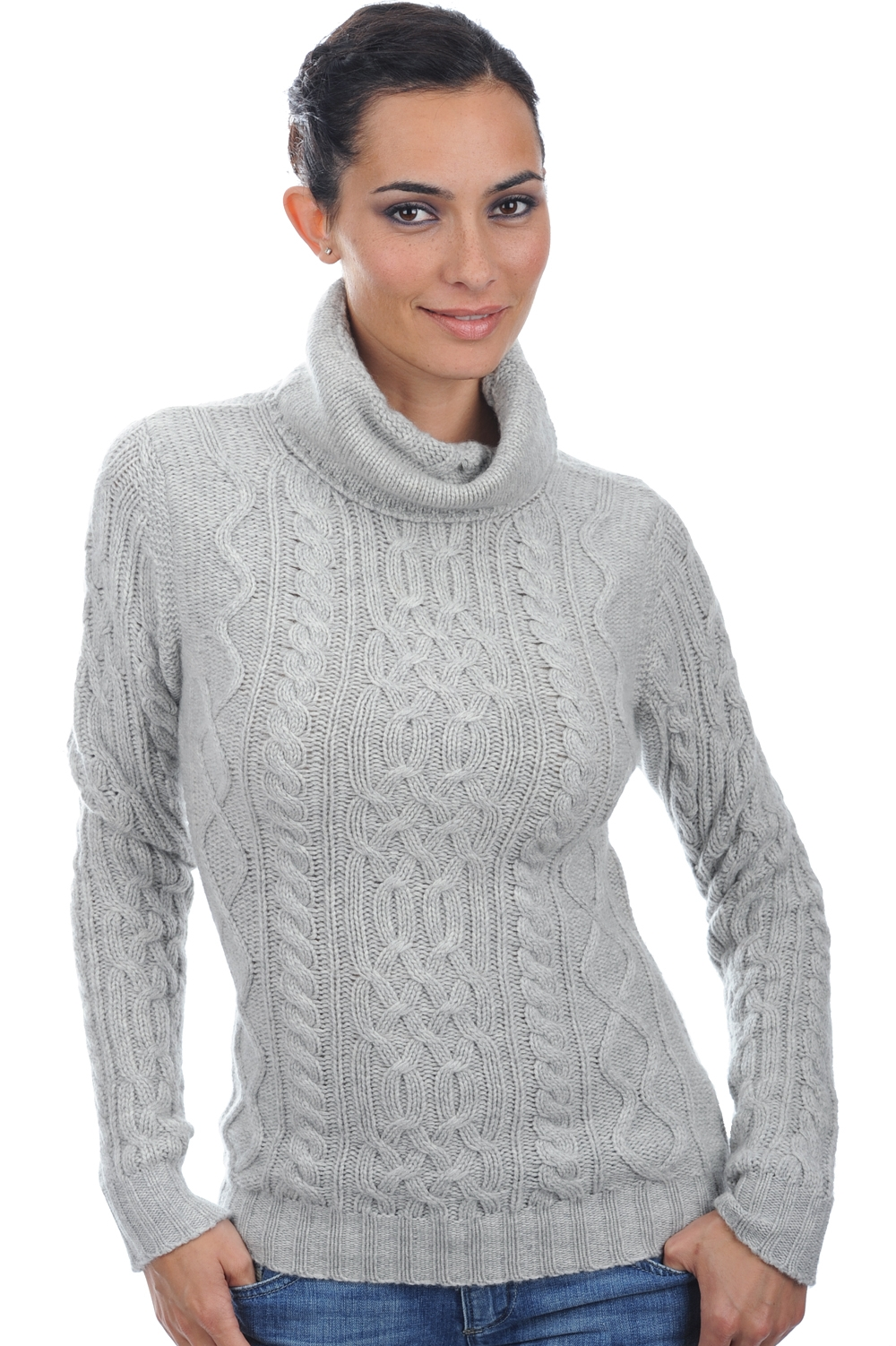 Cashmere ladies roll neck wynona flanelle chine s
