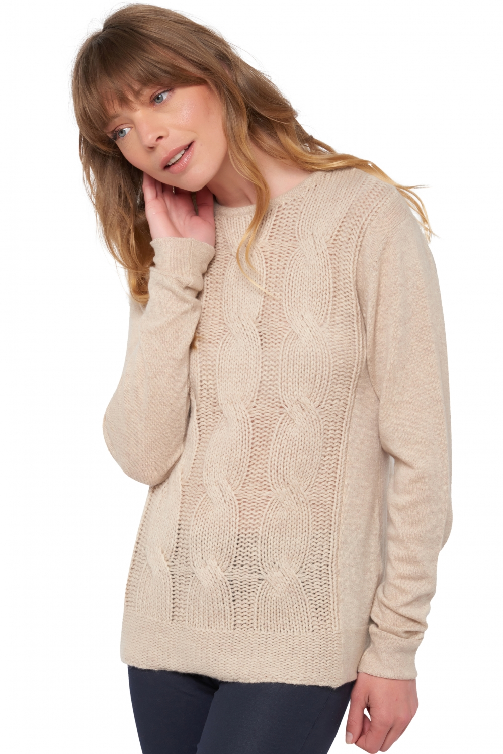 Cashmere ladies round necks shae vintage beige chine xl