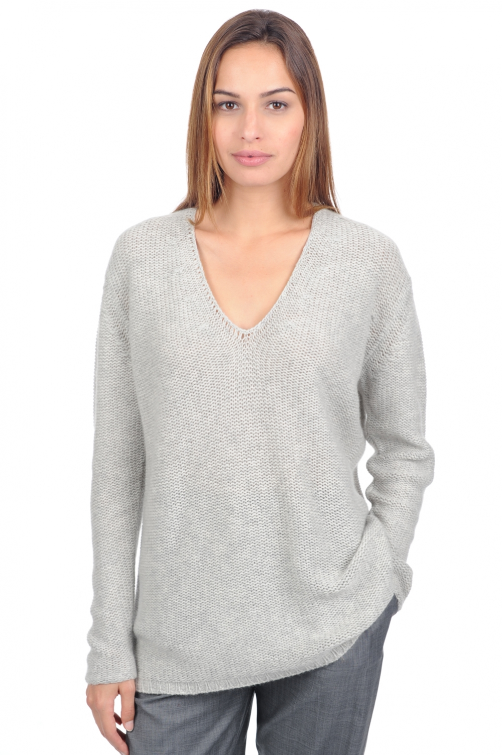 Cashmere ladies v necks oshak flanelle chine s1