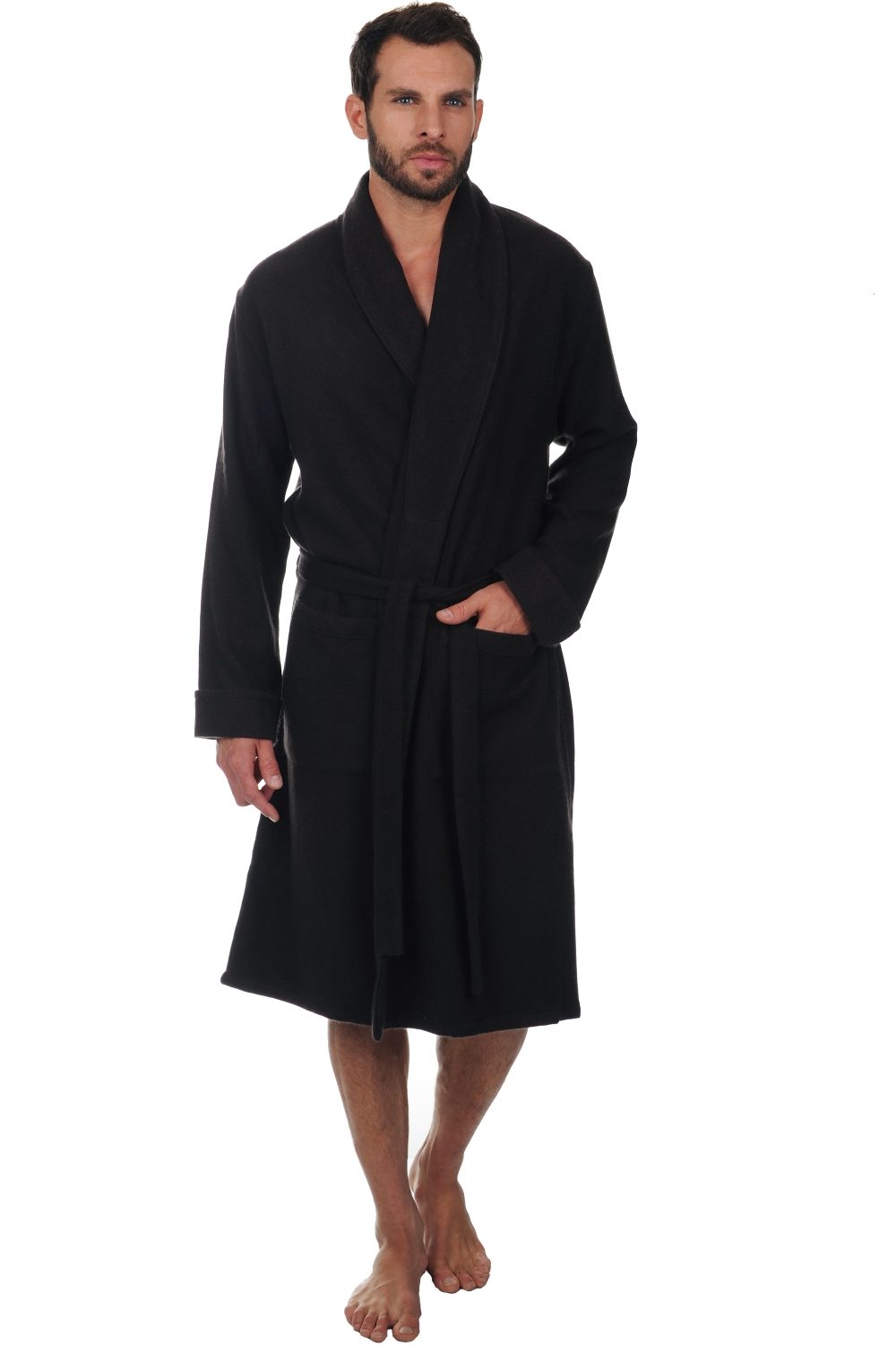 Cashmere men dressing gown mylord licorice s2