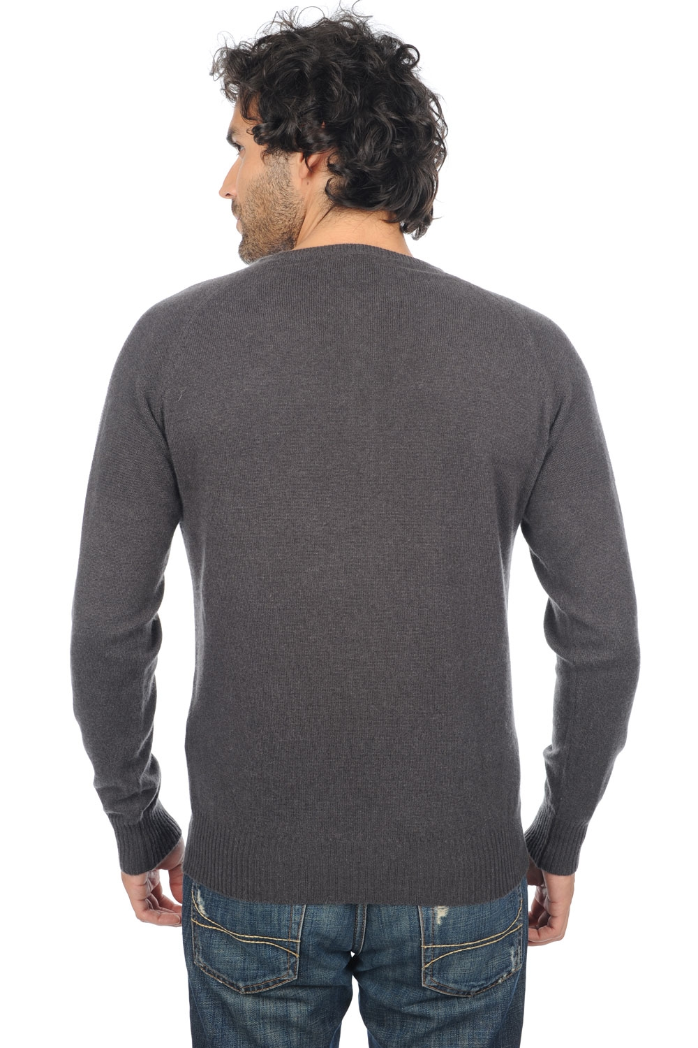 Cashmere men polo style sweaters gustave matt charcoal azur blue chine l