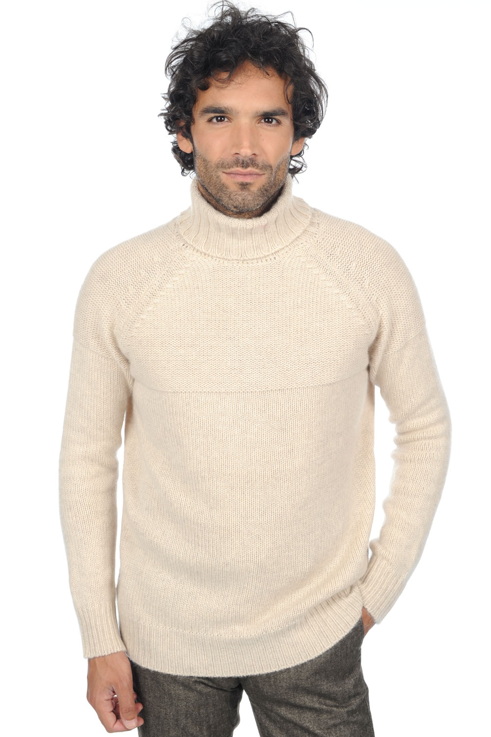 Cashmere men roll neck mamadou ecru chine m