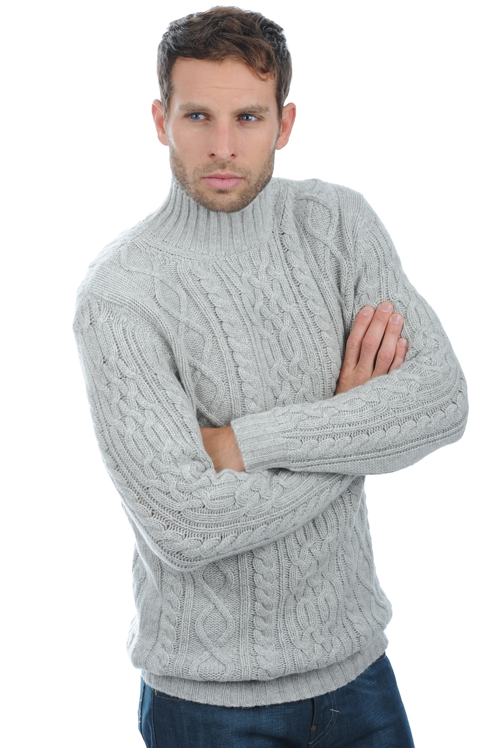 Cashmere men roll neck platon flanelle chine m