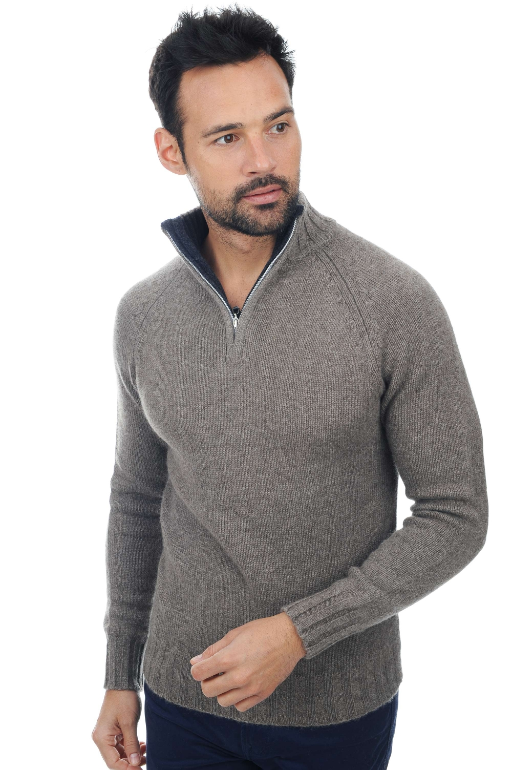 cashmere & Yak men polo style sweaters howard natural grey charcoal marl m