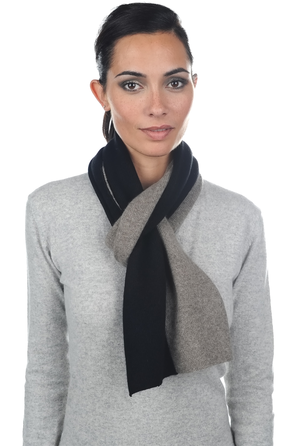 cashmere  yak accessories scarves  mufflers luvo black natural grey 164 x 26 cm