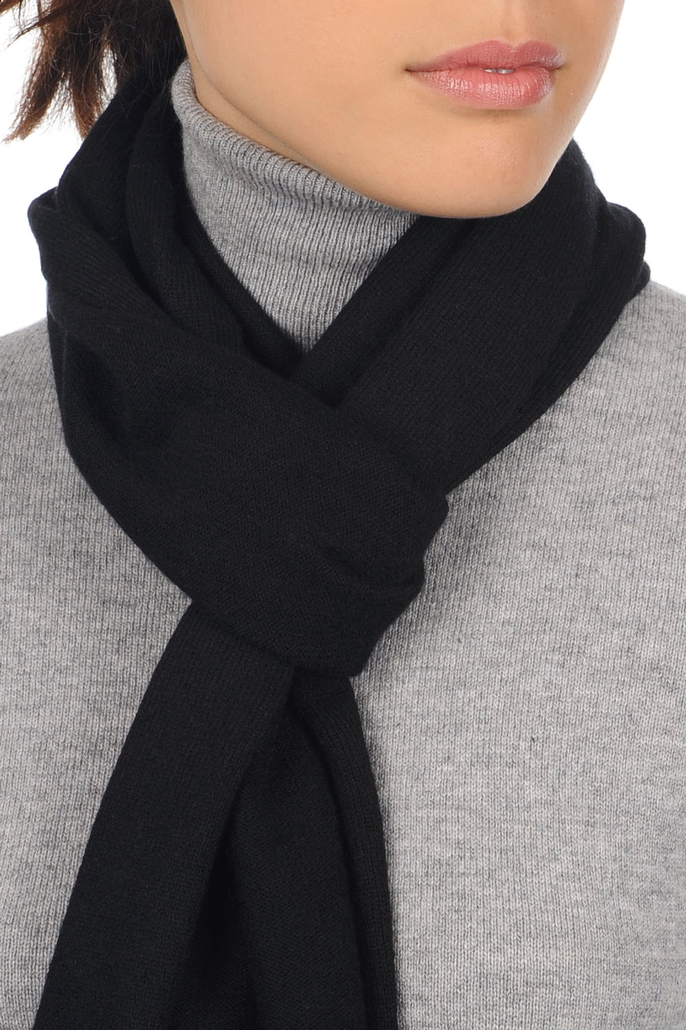 cashmere accessories scarves  mufflers ozone black 160 x 30 cm