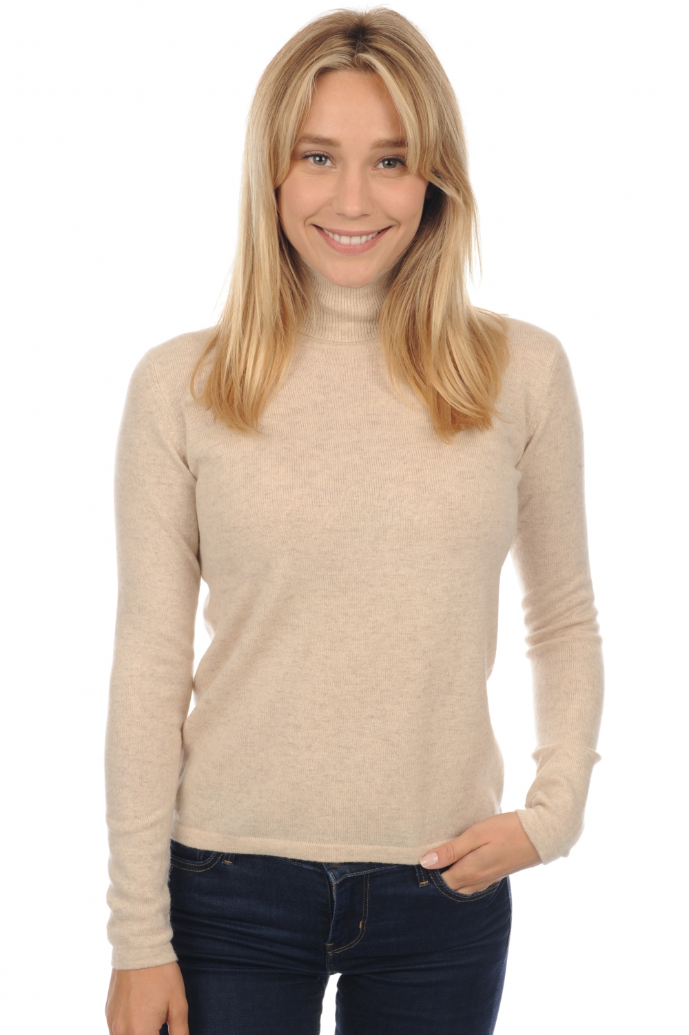 cashmere ladies polo necks jade ecru chine xs