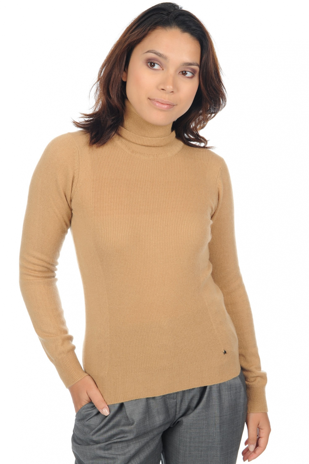 cashmere ladies polo necks kassidy camel s