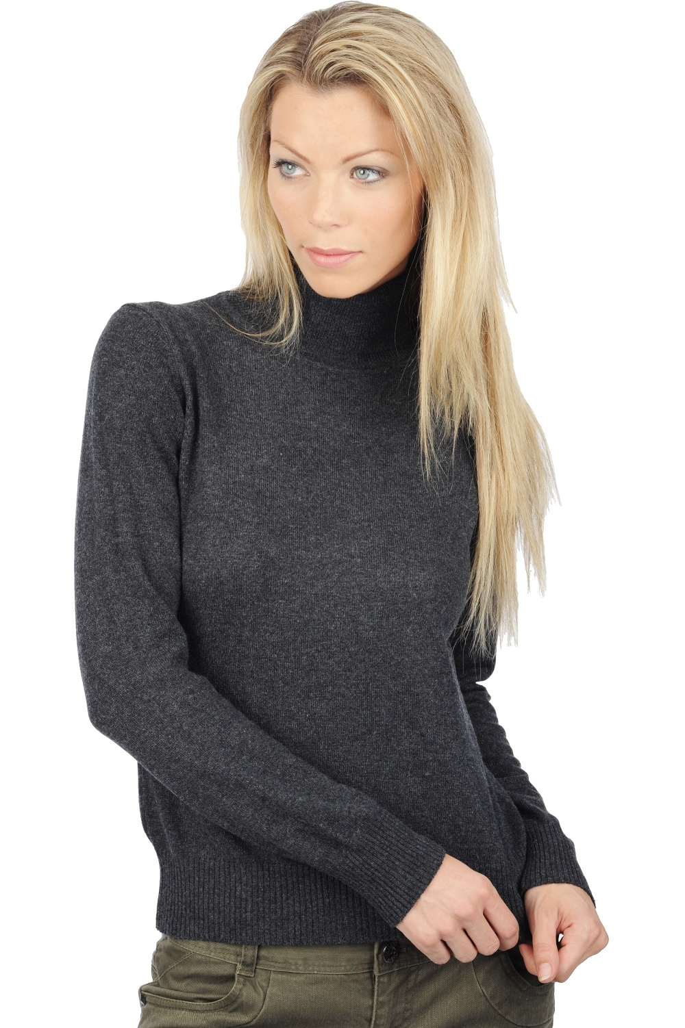 cashmere ladies polo necks lili charcoal marl s