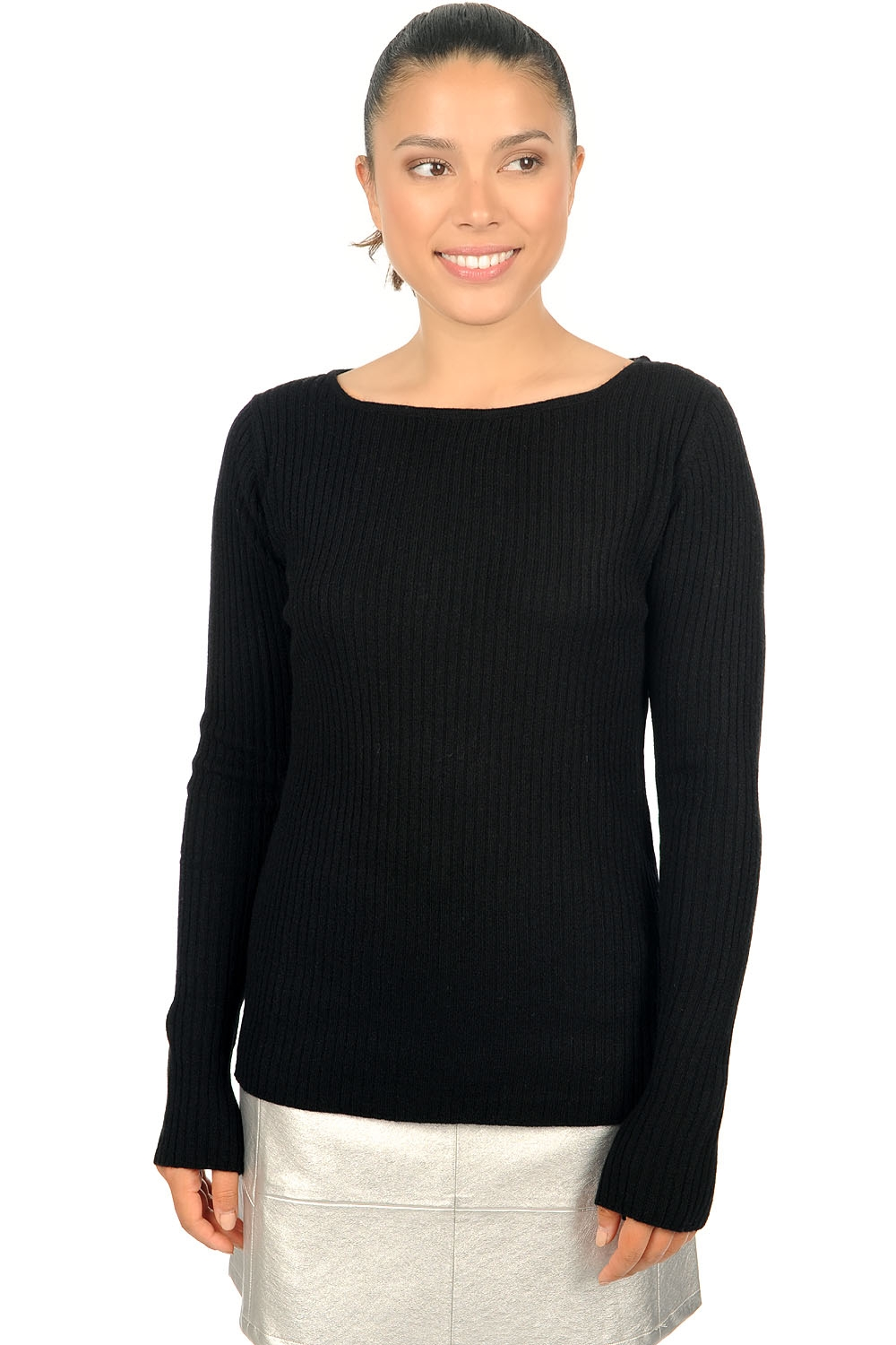 cashmere ladies round necks daffiny black l