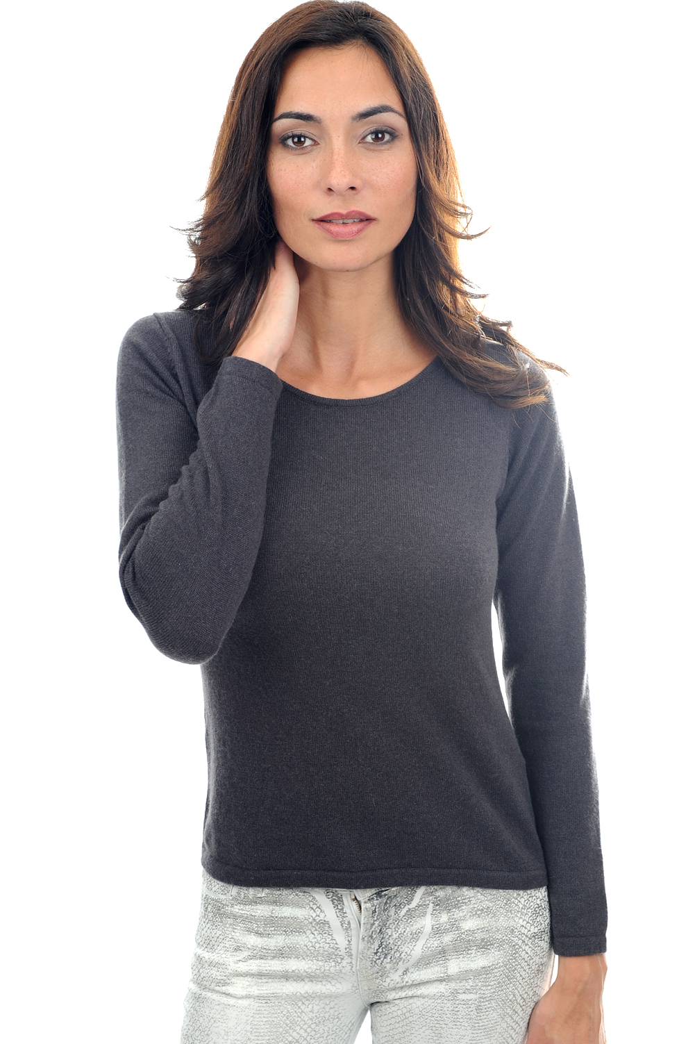 cashmere ladies round necks solange matt charcoal l